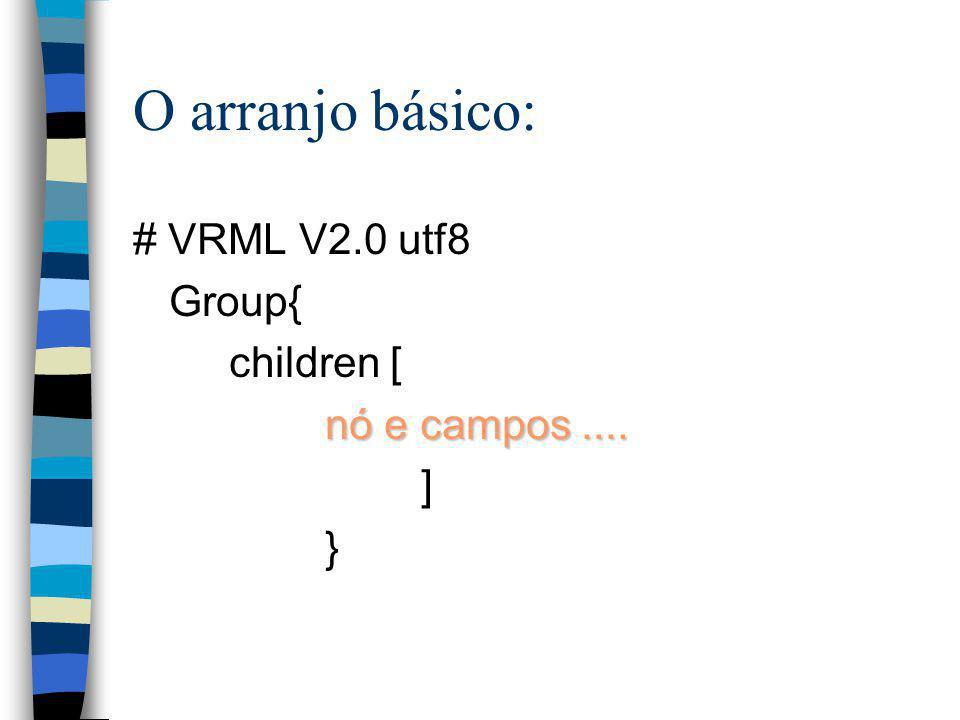 O arranjo básico: # VRML V2.0 utf8 Group{ children [ nó e campos ....
